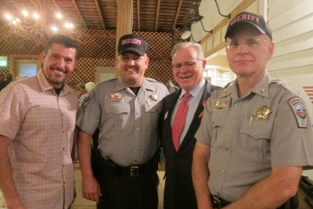 From the left:  Kris Paronto, Chatham County officer, Jim Duncan, Republican candidate for North Carolina's 2nd Congressional District and Chatham County Sheriff Webster