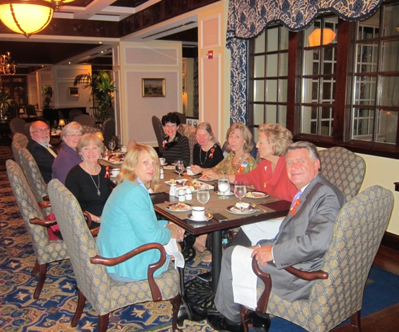 The ICON Board enjoying desert and coffee after the lecture with Mark and Beth Harris and Les and Doreen Lawrence at the Washington Duke Club