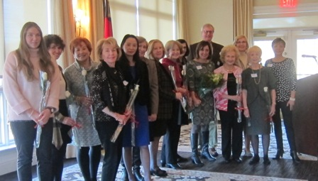 Sponsors  of  the tea:  from the left:  Emma Parsons, Carol Kelly, Karen Kolias, Gladys Kofalt, Sue Googe, Mary Clemmings,Brenda Dowling, Nancy Clark, Betsy Duncan, Wendy Ball, Cathy Wright, in the back, Linda and Matt Arnold