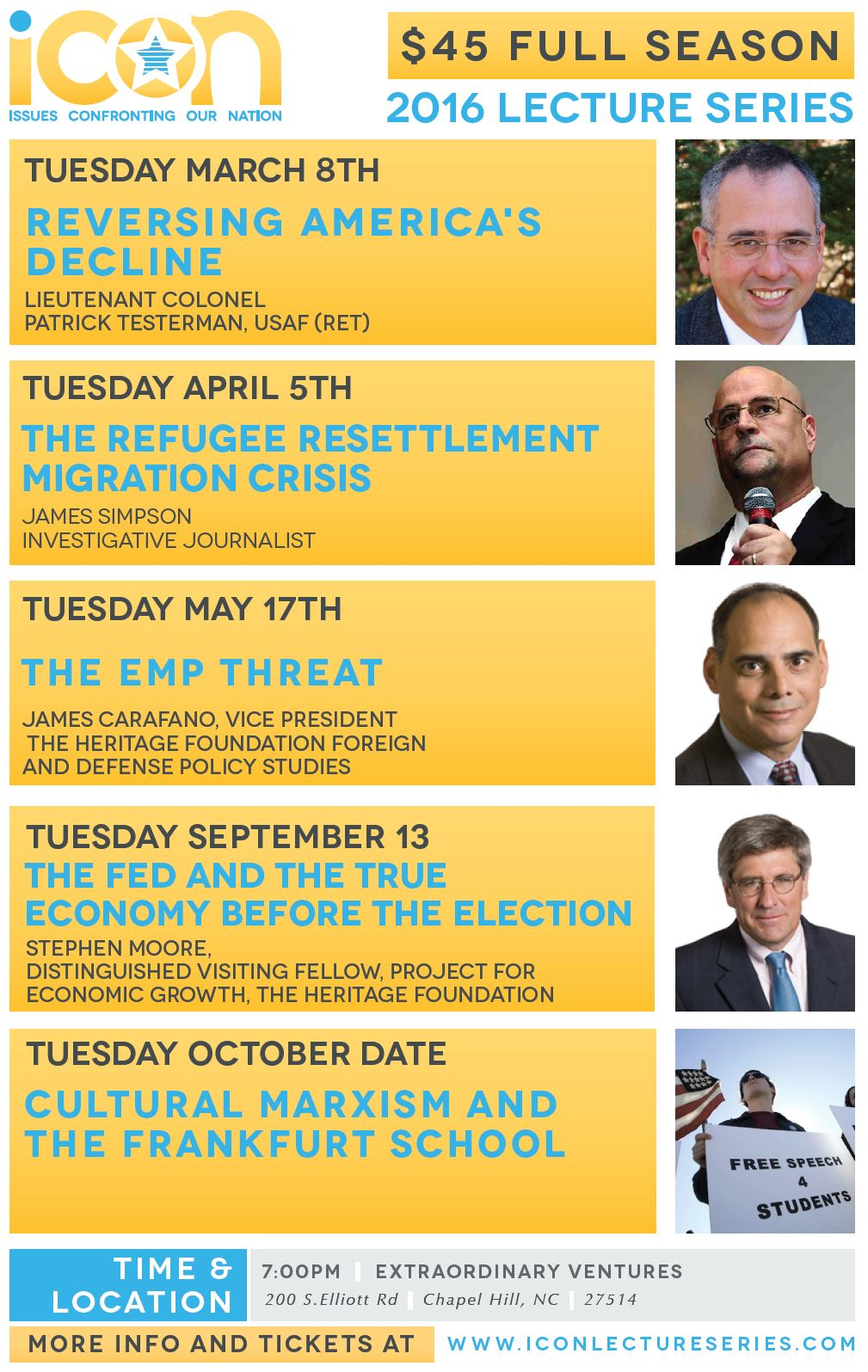 ICON Lecture Series 1016 Speaker Schedule, Chapel Hill, North Carolina