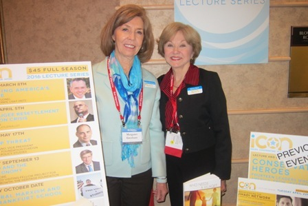 From the left:   Meg Gresham and Nancy Clark, ICON Lecture Series Board Members