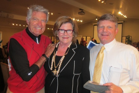 From the left:  Buckey Waters, Janie Wagstaff, President, ICON Lecture Series, and Mike Waters
