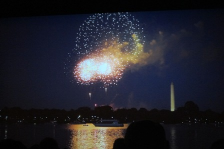 scene from the movie - fireworks with the Washington Monument in the background