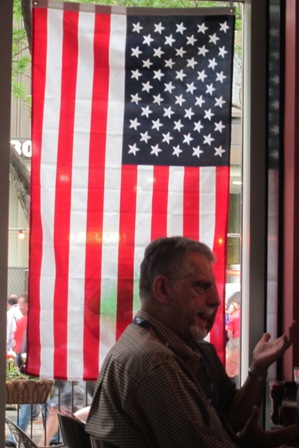 American flag displayed at a downtown restaurant