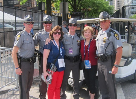 Martha Jenkins and  Nancy Clark with state troopers