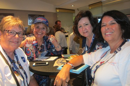 From the left:  Linda Petrou, the lady with the blue cap is an enthusiastic Trump supporter !, Martha Jenkins and Donna Williams