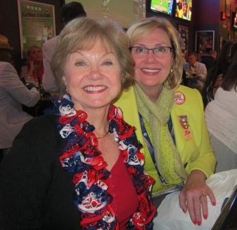 From the left:  Nancy Clark, Conservative Women's Forum and Linda Arnold, National Federation of Republican Women, Regent Chair