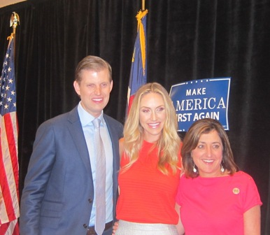 Eric and Lara  Trump with Susan Tillis, wife of Senator Thom Tillis,  North Carolina