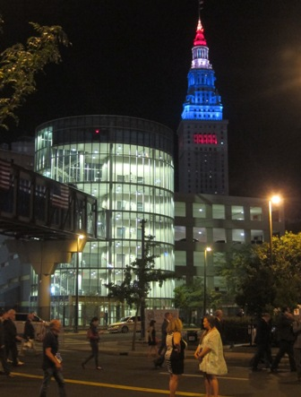 The city of Cleveland at night