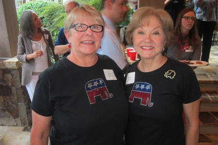 From the left:  Bryan Bowers and Nancy Clark with matching GOP shirts !