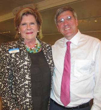 Stephen Moore with Janie Wagstaff, President ICON Lectures