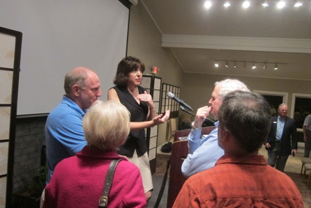 Diana West answering questions after her presentation