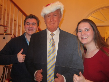 "Austin Hunter and Olivia giving the thumbs up to ""The Donald"""
