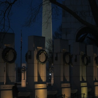 World War II Memorial and the Washington Monument at night
