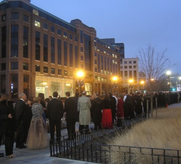 Attendees lined up to go through check points for the Freedom Inaugural Ball